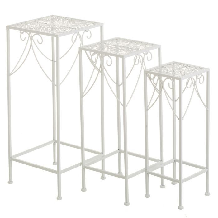 SET 3 MESAS METAL BLANCO 28 X 28 X 65 CM